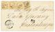 RHODES : 1866 10c(n°21)x4 Obl. GC 5094 + RHODES TURQUIE Sur Lettre Pour CONSTANTINOPLE. Léger Pli Sur 1 Timbre. Combinai - Frankreich (alte Kolonien Und Herrschaften)