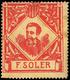 "Nathan * 38 - 1900. Cataluña. ""F. Soler"" (tamaño Grande) 1 Valor Color Rojo Sobre Blanco. Raro - Nationalistische Uitgaves"