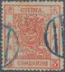 China: 1878, Large Dragon Thin Paper 3 Ca. Vermilion, Canc. Blue Seal (Michel Cat. 280.-) - Chine
