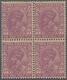 "Indien - Dienstmarken: 1932-36 KGV. 1a3p. Mauve, Block Of Four With Cream Gum, Variety ""No Overprint - Timbres De Service"