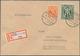 """Bizone: 1946, AM-Post 8 Pf Und 1 RM Als Portogerechte Mischfrankatur Auf R-Brief Ab """"VISSELHÖVEDE B - Amerikaanse-en Britse Zone"""