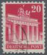 """Bizone: 1948, 20 Pfg. Bauten Type """"Z F"""", Gezähnt 11 1/4:11, Zart Eckgestempelt, Sehr Unregelmäßig Ge - American/British Zone"""