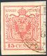 UDINE, 2CO Punti 7 - 15 Cent. Rosso Prima Tiratura (3a), Perfetto, Su Frammento Del 5/6/1850, Quinto... - Lombardy-Venetia