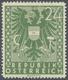 """Österreich: 1945, Freimarken """"Wappen, 24 Pfg. Als Probedruck In Grün Und In Linienzähnung, Auf Gummi - Ungebraucht"""