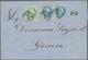Österreichische Post In Der Levante: 1874, 3 So Grün Und 2 X 10 So Blau, Jede Marke Entwertet Mit Fi - Levant Autrichien