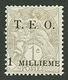 SYRIE : 1c BLANC De FRANCE Surchargé T.E.O 1 MILLIEME (n°1) Neuf *. Signé SCHELLER. Cote 330€. Trés Frais. TTB. - France (former Colonies & Protectorates)