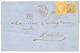 1874 10c AIGLE + 40c CERES (pd)obl. ANCRE + Cachet COL. FR PAQ FR C N°1 En Rouge Sur Lettre Avec Texte De CAYENNE Pour N - French Guiana (1886-1949)