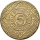 Kolonien Und Nebengebiete: STADT GENT: 5 Francs / Franken 1917 Eisen, Kupferplattiert. Jaeger N 616. - [ 9] Colonies