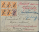 """Russische Post In China: 1899, 1 K. (5 Inc. Horizontal Strip-3) And 5 K. Tied """"XANHAI 29 VIII 08"""" To - Cina"""
