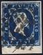 1851 - 20 Cent. Azzurro Scuro (2b), Bordo Di Foglio, Usato, Perfetto. Bello! G.Oliva.... - Sardegna