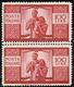 1946 - 100 Lire Democratica, Coppia Verticale Con Doppia Dentellatura Al Centro (565x), Gomma Integr... - 6. 1946-.. Republic