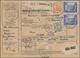 Berlin: 3 Mal 5 DM Mit 25 U. 50 Pf. Bauten (vorder U. Rücks. Frankiert) Zusammen Auf Übersee-Paketka - [5] Berlin