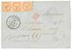 TAHITI : 1864 Bande De 3 Du 40c AIGLE (1 Ex. Pd) Obl. Losange OCN + Trés Rare Grand Cachet PAPEITI TAÏTI Sur Lettre Pour - Frankreich (alte Kolonien Und Herrschaften)