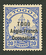 TOGO - ANGLO FRENCH OCCUPATION - Tirage SANSANE MANGU : 20pf (n°57) Neuf *. Cote 3400€. Rare. Signé BOTHE. Certificat SC - Francia (vecchie Colonie E Protettorati)