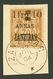 ZANZIBAR : 1F Et 10 Sur 3 S/ 30c (n°61) Obl. Sur Fragment. Cote 2300€. Signé SCHELLER. Trés RARE. Tirage 50. Superbe. - France (former Colonies & Protectorates)
