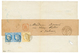 """""""N°60 - Type II Et Type III Se Tenant"""" : 1874 Paire 25c CERES (n°60) Type II Et III Se Tenant + 15c (n°59) Obl. GC 4077  - 1871-1875 Ceres"""