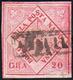 1860 - 20 Grana Rosa Brunastro, Carta Vergata, Falso Per Posta, V Tipo (F12b), Usato, Riparato.... - Naples