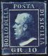 1859 - 10 Grana Azzurro Cupo (12), Gomma Originale, Perfetto. Ferrario.... - Sicily
