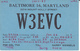 1957 QSL CARD W3EVC Baltimore USA To GB, Stamps Cover  Radio Card Postcard - Radio Amatoriale