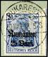 25 Bani Auf 20 Pfg Germania, C-Farbe, Tadellos Gestempelt Auf Briefstück, Gepr. Hey BPP, Mi. 150.-, Katalog: 11c BS - Romania