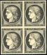 ** N°3 - 20c. Noir S/jaune. Bloc De 4. La Paire Supèrieure Est *. Très Frais. SUP. - 1849-1850 Cérès
