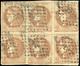 O N°40B - 2c. Brun-rouge. Report 2. Bloc De 6. Obl. TB. - 1870 Bordeaux Printing