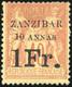 (*) N°16a - 10a. Et 1Fr. Sur 40c. Rouge-orange. TB. - Zanzibar (1894-1904)