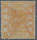China: 1878, Large Dragon Thin Paper 3 Ca. Orange Canc. Red Customs Dater, Top Slight Crease (Michel - China