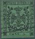 "Italien - Altitalienische Staaten: Modena: 1852, 5 Cent. Green With Typographical Error ""E In CENT L - Modena"