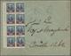 Argentinien: 1890, 1/4 A.12c Blau Mit Rotem Aufdruck Als 8ter Block Mit Linken Bogenrand Und Mit Kom - Argentine