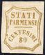 1859 - 80 Cent. Bistro Oliva (18), Gomma Originale, Perfetto. Bello E Raro. Cert. Ferrario.... - Parma