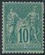 * TYPE SAGE  - * - N°76 - 10c Vert - Petite Fente - Comme** - TB - 1876-1878 Sage (Type I)