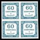 ** N°9, 60c Bleu En Bloc De Quatre, Fraîcheur Postale, SUP (certificat)  Qualité: ** - 1859-1955 Neufs
