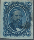 Brasilien: 1876 'Dom Pedro' 50r. Blue On Bluish Paper (PAPEL AZULADO), Pin-perf, Fine Used. - Brésil