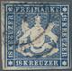 Württemberg - Marken Und Briefe: 1860, Freimarke 18 Kr. Blau, Schwarzer Kreisstempel, Rechts Oben Ge - Wuerttemberg