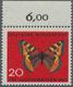 """Bundesrepublik Deutschland: 1962 Bundesrepublik 20 Pf. Rot/bunt Mit Abb. """"Schmetterling - Kleiner Fu - [7] République Fédérale"""