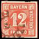 """""""5"""" - AICHACH, Klar Auf Farbfrischer 12 Kr. Rot, Links Unten Leicht Berührt, Sonst Eng- Bis Breitrandig, Diagonalbug, Ka - Bavaria"""