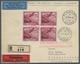 Liechtenstein: 1930, 1 Fr. Rötlichkarmin Im 4er Block Auf R-Eilboten-Luftpostbrief Von Vaduz, Roter - Lettres & Documents