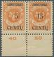 Memel: 1923, 15 C. Auf 25 M. Lebhaftrötlichorange Im Waagerechten Unterrandpaar, Linke Marke Mit Auf - Memel