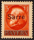 """1920 (1 MAR) 3m Scarlet Of Bavaria With """"Sarre"""" Overprint, Michel 29, Very Fine Mint. For More Images, Please Visit Http - Unclassified"""