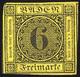 (*) 1853, 6 Kr Schwarz Auf Gelb, Verdünnt, Mi. 7 Unif. 8 - Baden