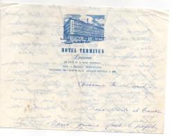 """Pub--LAUSANNE--Suisse--1960--Courrier Avec Papier à En-tête """"Hotel TERMINUS"""" - Publicités"""