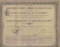 RARE:  MANUFACTURE DE PRODUITS CHIMIQUES DE POUILLY SUR SAONE (1878) - Azioni & Titoli