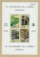 FEUILLE TIMBRES 1978 50 ANNIVERSAIRE DU COURRIER ESPAGNOL - L'ANDORRE - BOUCLIER D'ARME - FACTEUR ANTIQUE MNH - Sellos
