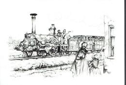 CP Dépliante Dessin D'un Train Tiré Par Une Ancienne Locomotive, Dessin D'Anton Pieck - Unclassified