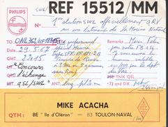 QSL De REF1551 Mike Acacha Toulon-Naval 29/5/67 1ère Station Active Sur Un Bâtiment De La Marine Nationale Île D'Oléron - Documents