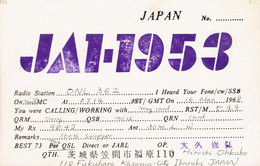 Old QSL From Hiroshi Ohkubo; Fukuhara, Kasama-City Ibaraki (Japon) Du 16/3/1968 - Cartes Postales