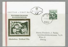 FDC AUTRICHE 1961 CHÂTEAUX SCHATTENBURG FELDKIRCH CASTLE - Monumentos