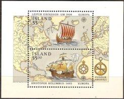 CEPT 1992 Islande Ijsland Iceland Yvertn°. Bloc 13 *** MNH Yvertcote  13 € Europa - 1992
