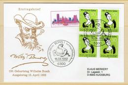 ALLEMAGNE FDC 1982 AVEC A BLOC 4 TIMBRES WILHELM BUSCH - Celebridades